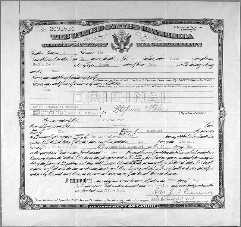 Citizenship Certificate Of Stefan Polc