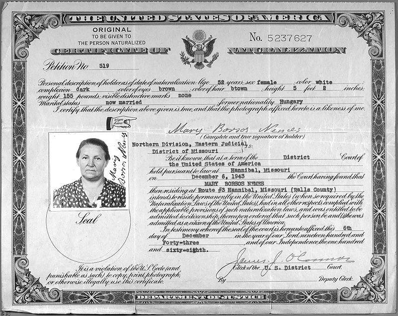 Certificate Of Naturalization Of Mary Borsos Nemes